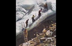 Beklimmen van een gletsjer bij Chamonix