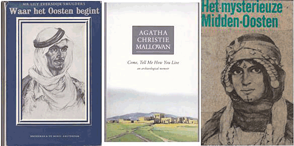 Boekomslagen: vlnr Lily Eversdijk Smulders (1958) – Agatha Christie (1946) – Lily Eversdijk Smulders (1970)/ herbewerking boek uit 1958]